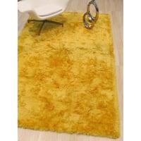 Handmade Yellow Solid London Shag Rug