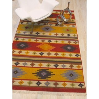 EORC Red/Yellow/Brown Wool Handwoven Traditional Geometric Southwestern Rug - Multi
