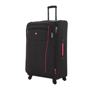 SwissGear Black/Red 28- inch Lightweight Sofside Spinner Suitcase