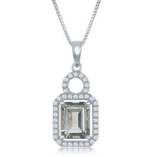 La Preciosa Sterling Silver High Polish Prong-Set Green Amethyst w/ White Topaz Border 17+3'' Necklace
