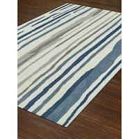 Addison Taylor Modern Stripe Blue/Ivory Area Rug (9' x 13')