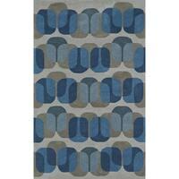 "ADDISON Taylor Modern Geometric Blue/Gray Area Rug (3'6""X5'6"")"