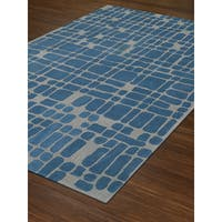 Addison Taylor Blue/Ivory Crosshatch Area Rug (8' x 10')