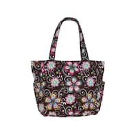 World Traveler Basics Quilted 15-Inch Brown Daisy Tote Bag