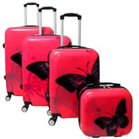 World Traveler Butterfly Red 4-piece Hardside Spinner Luggage Set