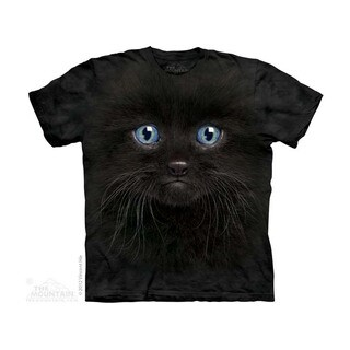 THE MOUNTAIN BLACK KITTEN FACE YOUTH T-SHIRT