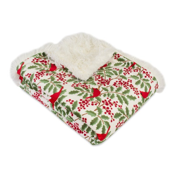Berkshire Blanket Holly Jolly Holly Reversible Throw - Free ...