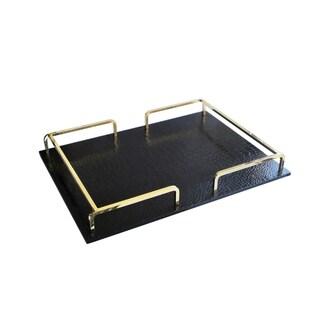 Croc Rail Rectangular Serving Tray (Option: Gold/Black)