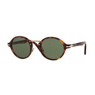 Persol Typewriter 3129 S 24/31 Unisex Havana Frame Green Crystal Lens Sunglasses