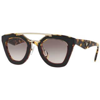Prada PR 14SS VHC4KO Womens Havana Pink Leather Frame Brown Lens Sunglasses
