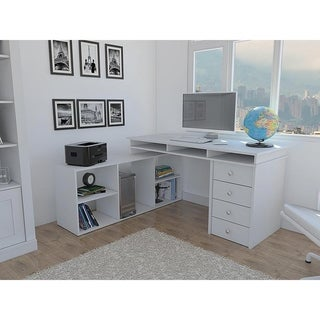Classic Design White Wood 4-door L-Shaped Corner Desk