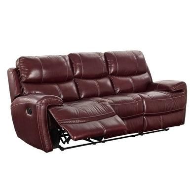 Coja Ashwood Leather Power Recliner Sofa, Red Burgundy (F...