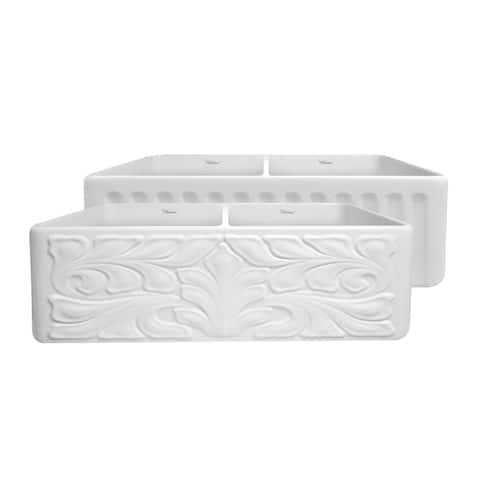 Whitehaus Collection Fireclay Reversible Double Bowl Sink