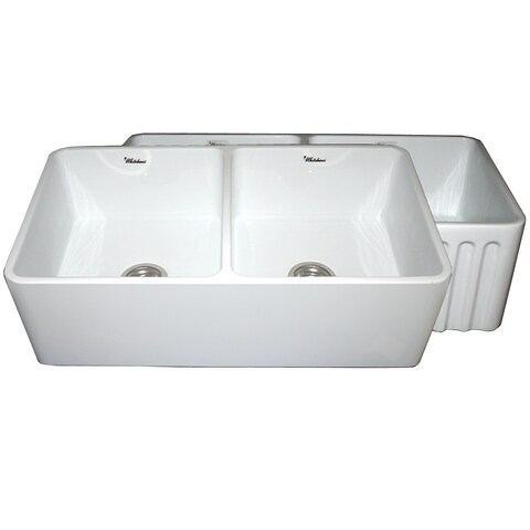 Whitehaus Collection Glossy Fireclay Reversible Double-bowl Kitchen Sink
