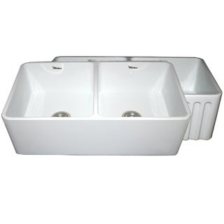 Whitehaus Collection Glossy Fireclay Reversible Double-bowl Kitchen Sink (2 options available)