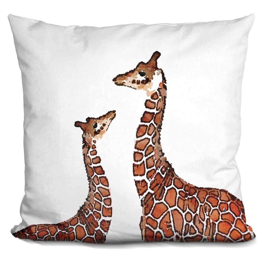 Lilipi Sq Giraffe.. Decorative Accent Throw Pillow