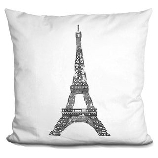 Lilipi Eiffel Tower Black.. Decorative Accent Throw Pillow