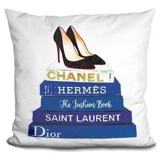 Lilipi Book Stack Blue Shoes Decorative Accent Throw Pillow