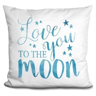 Lilipi Love You To The Moon Blue.. Decorative Accent Throw Pillow