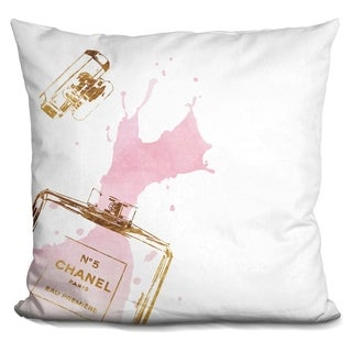 Lilipi Perfume Splash Gold Pink Decorative Accent Throw Pillow