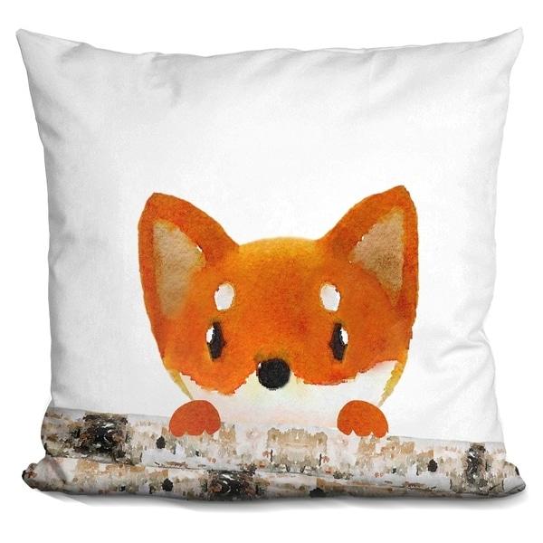 Lilipi Fox Logs Half Decorative Accent Throw Pillow