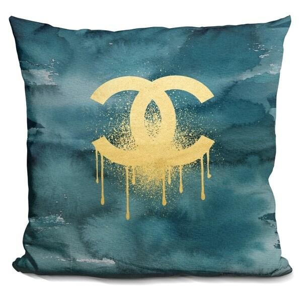 Shop Lilipi C Gold On Dark Teal Decorative Accent Throw Pillow Custom Dark Teal Decorative Pillows