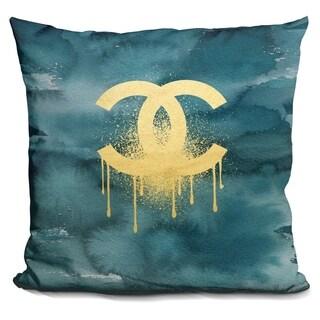 Lilipi C Gold On Dark Teal.. Decorative Accent Throw Pillow