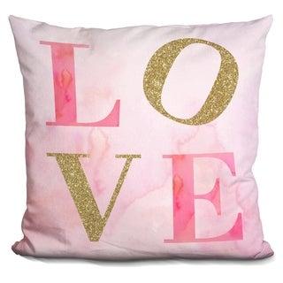 Lilipi Love Pink Gold Glitter.. Decorative Accent Throw Pillow