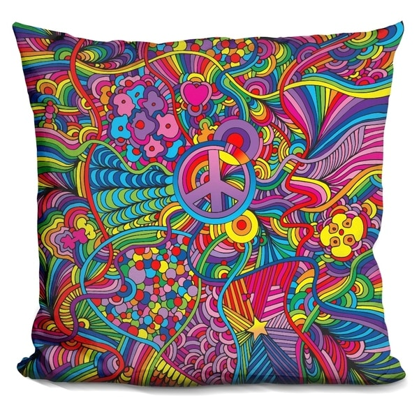 Lilipi Peace Sign Lines Decorative Accent Throw Pillow