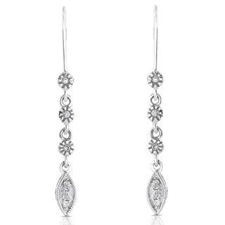 Annello by Kobelli 14k White Gold Diamond Leaf Dangle Earrings
