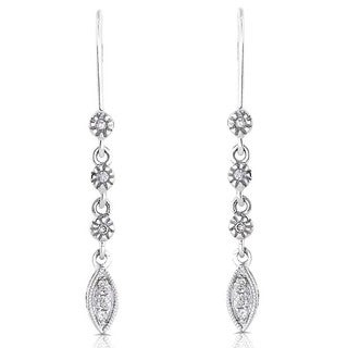 Annello by Kobelli 14k White Gold Diamond Leaf Dangle Earrings