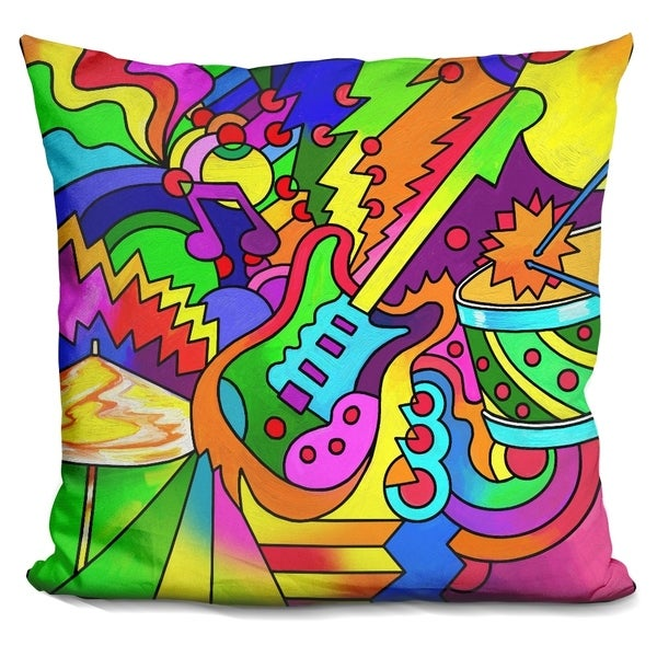 Lilipi Pop Art Guitar Drum Decorative Accent Throw Pillow