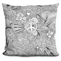 Lilipi Peace Sign Decorative Accent Throw Pillow