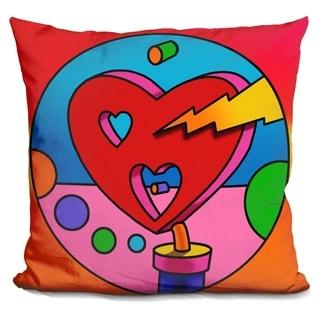 Lilipi Pop-Art-Lightning-Heart-Circle Decorative Accent Throw Pillow