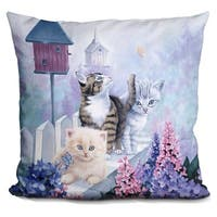 Lilipi Cats In Front Of The Birdfeeder Decorative Accent Throw Pillow
