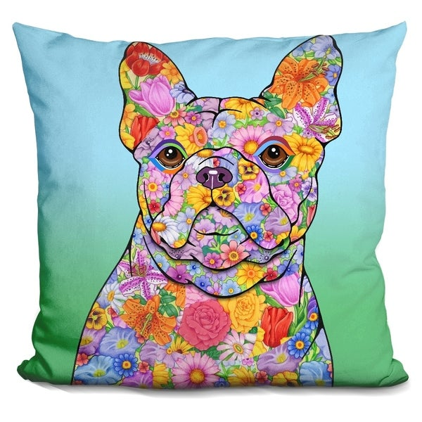 Lilipi Flowers French Bulldog Decorative Accent Throw Pillow