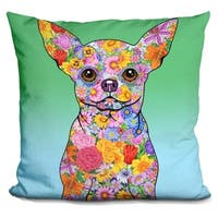 Lilipi Flowers Chihuahua Decorative Accent Throw Pillow