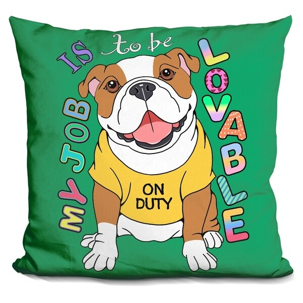 Lilipi Bulldog Graphic Style Decorative Accent Throw Pillow