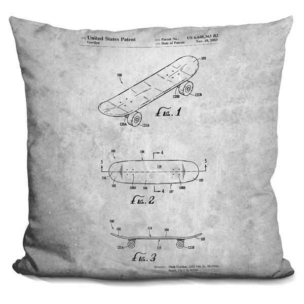 Lilipi Skateboard Blueprint Decorative Accent Throw Pillow