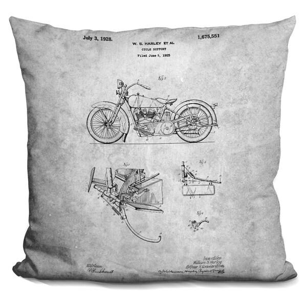 Lilipi Motorcycle Blueprint Decorative Accent Throw Pillow