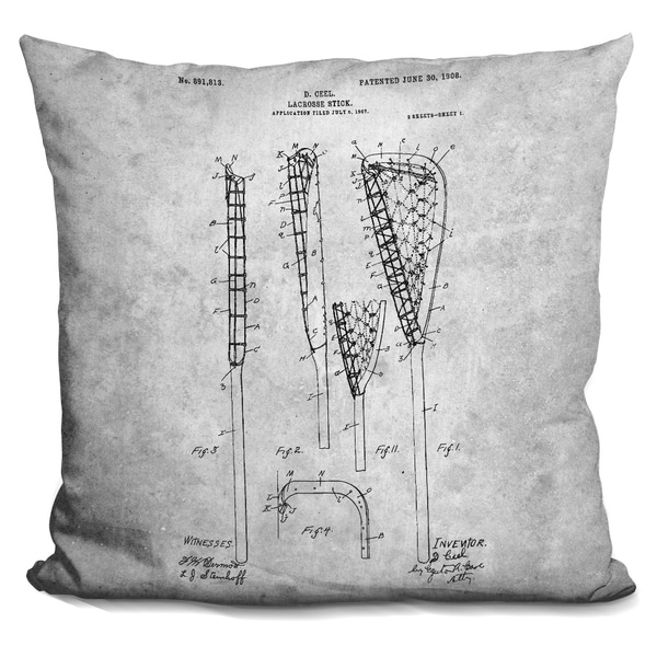 Lilipi Lacrosse Stick Blueprint Decorative Accent Throw Pillow