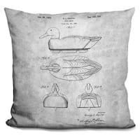 Lilipi Duck Decoy Blue Print Decorative Accent Throw Pillow