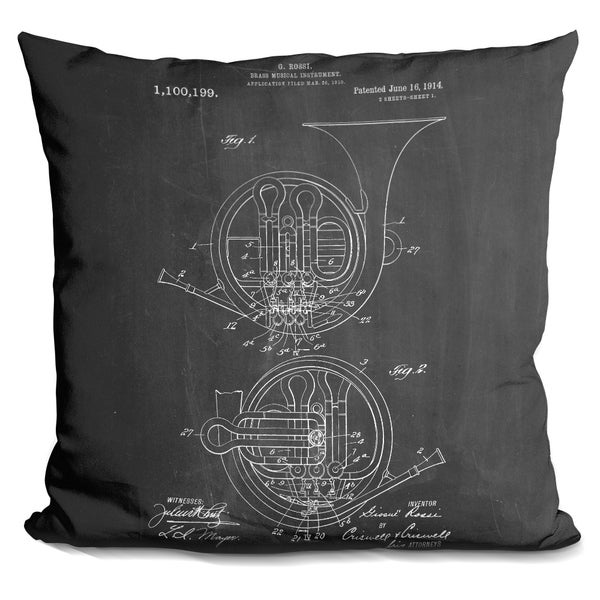 Lilipi French Horn Decorative Accent Throw Pillow