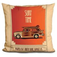 Lilipi Surf Time Decorative Accent Throw Pillow