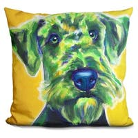 Lilipi Airedale Terrier - Apple Green Decorative Accent Throw Pillow