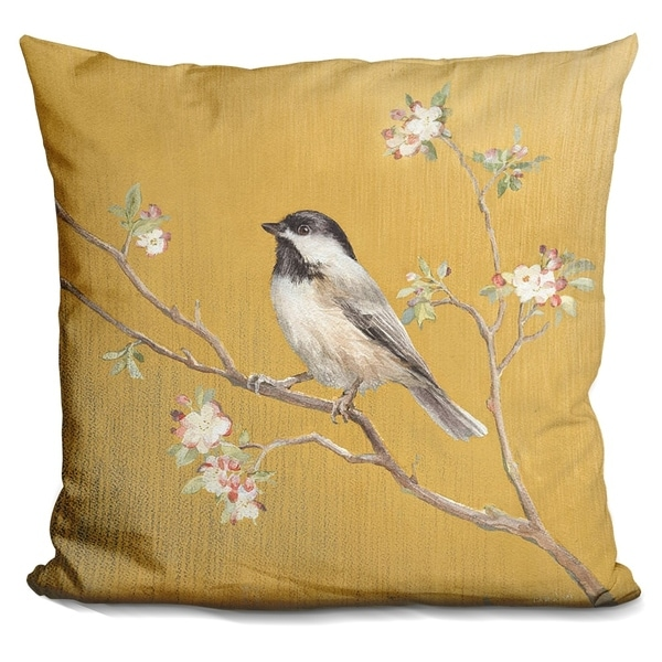 Lilipi Black Capped Chickadee On Gold Decorative Accent Throw Pillow