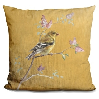 Lilipi Female Goldfinch On Gold Decorative Accent Throw Pillow