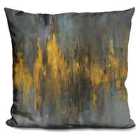 Lilipi Black And Gold Abstract Decorative Accent Throw Pillow