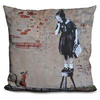 Lilipi Girl And Mouse Decorative Accent Throw Pillow