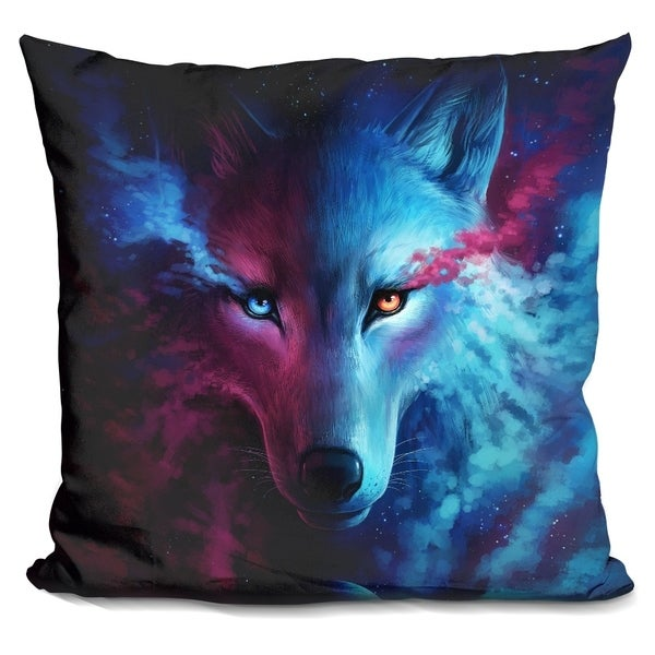 Lilipi Wolf Galaxy Decorative Accent Throw Pillow